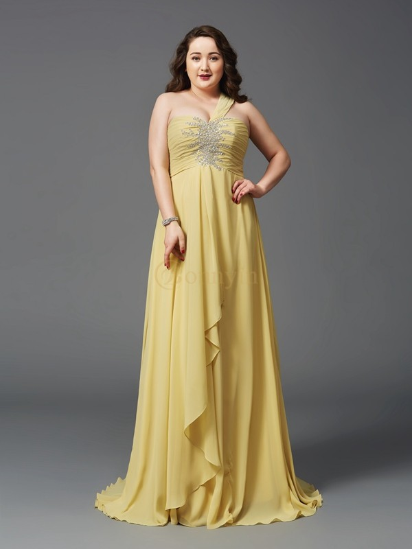 Daffodil Chiffon One-Shoulder A-Line/Princess Sweep/Brush Train Prom Dresses