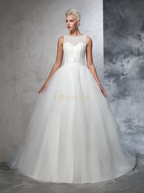 Ivory Net Bateau Ball Gown Chapel Train Wedding Dresses