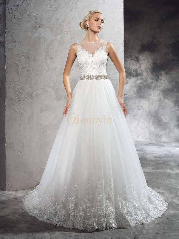 Ivory Net Sheer Neck A-Line/Princess Court Train Wedding Dresses