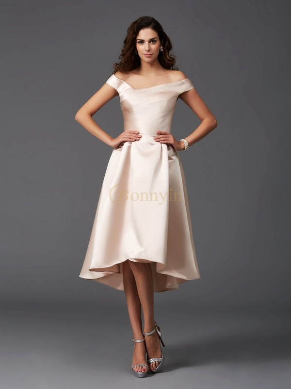 Pearl Pink Satin Off-the-Shoulder A-Line/Princess Asymmetrical Bridesmaid Dresses