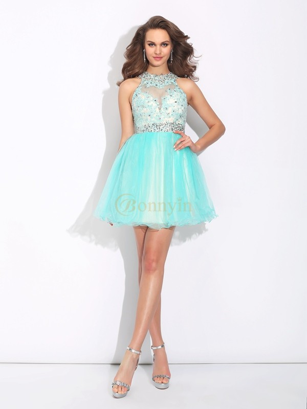 Light Sky Blue Net High Neck A-Line/Princess Short/Mini Cocktail Dresses