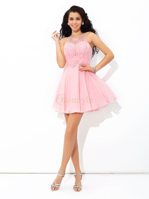 Pink Chiffon Sheer Neck A-Line/Princess Short/Mini Cocktail Dresses