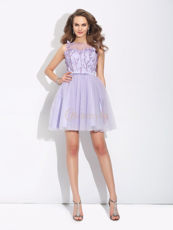 Lavender Satin Bateau A-Line/Princess Short/Mini Cocktail Dresses