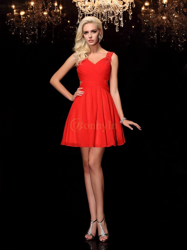 Red Chiffon Straps A-Line/Princess Short/Mini Cocktail Dresses