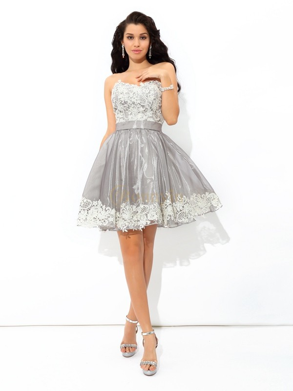Grey Tulle Sweetheart A-Line/Princess Short/Mini Cocktail Dresses