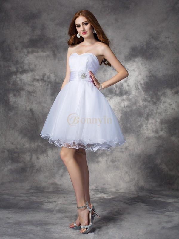 White Organza Sweetheart A-line/Princess Short/Mini Cocktail Dresses