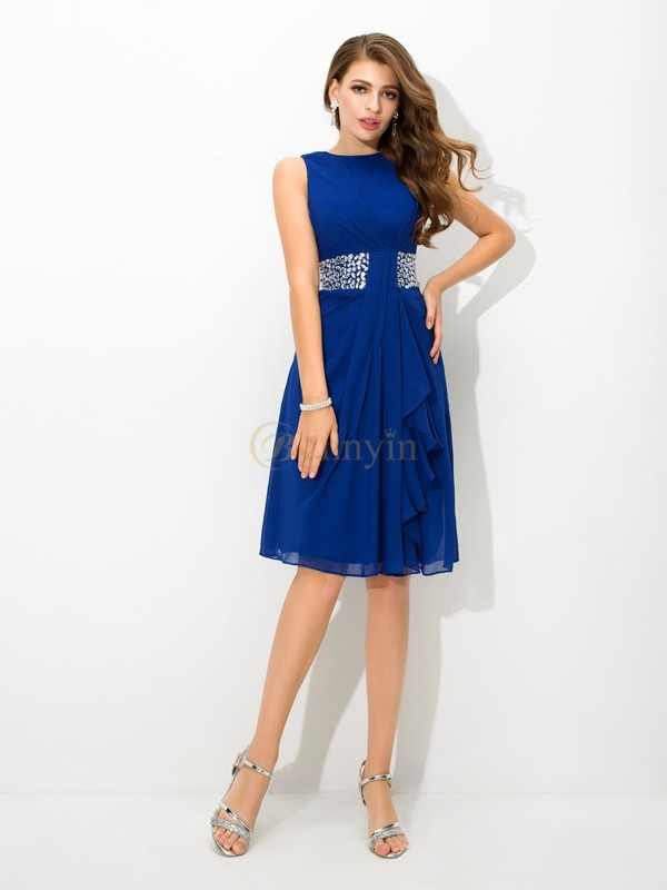 Royal Blue Chiffon High Neck A-Line/Princess Knee-Length Cocktail Dresses