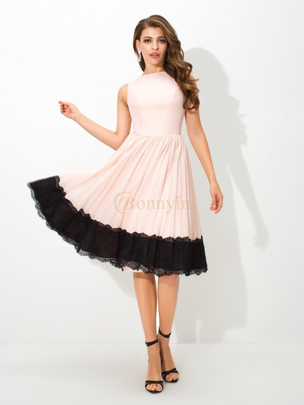 Pink Chiffon High Neck A-Line/Princess Tea-Length Cocktail Dresses