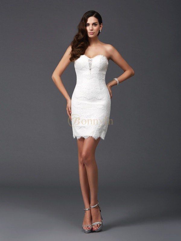 Ivory Lace Sweetheart Sheath/Column Short/Mini Cocktail Dresses