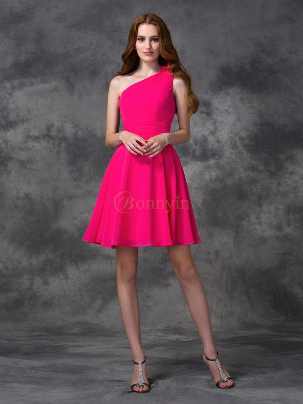 Fuchsia Chiffon One-Shoulder A-line/Princess Short/Mini Cocktail Dresses