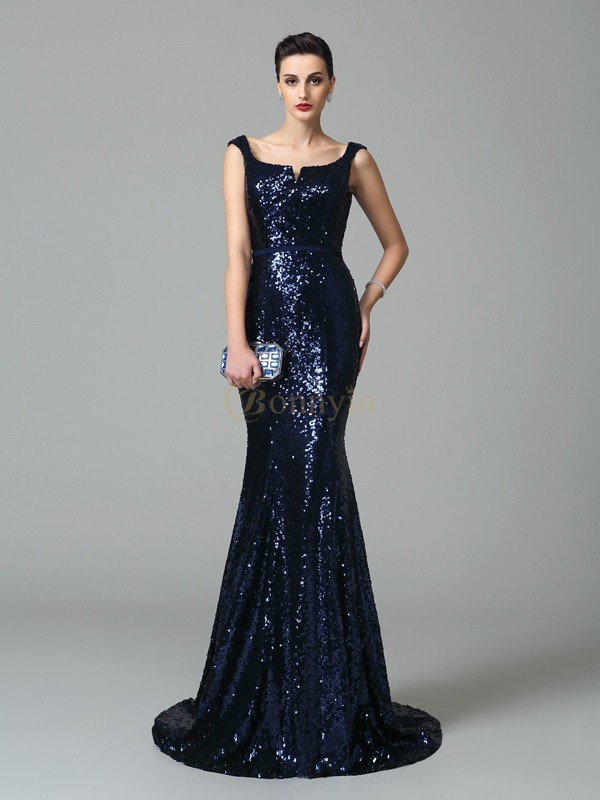 Dark Navy Sequin Straps Trumpet/Mermaid Sweep/Brush Train Evening Dresses