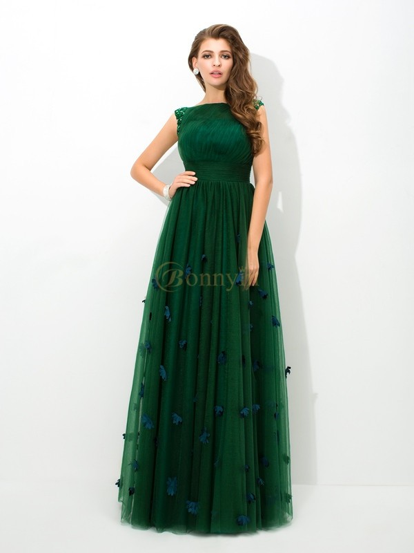 Green Net Sheer Neck A-Line/Princess Floor-Length Evening Dresses