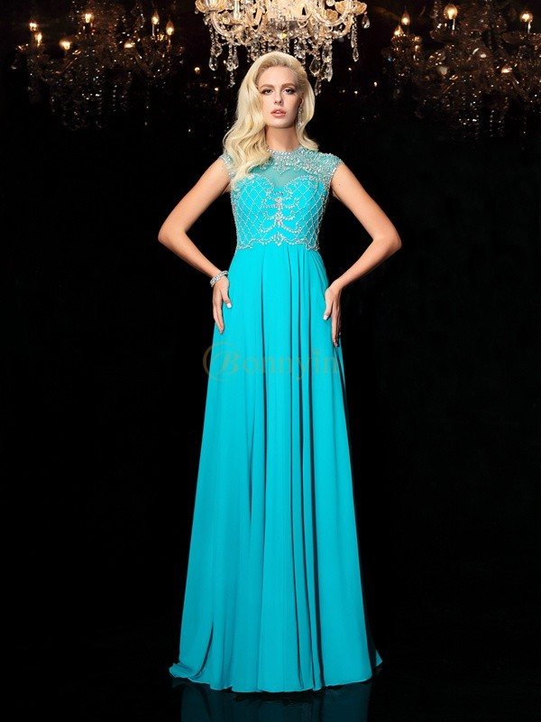 Chiffon Jewel A-Line/Princess Floor-Length Evening Dresses