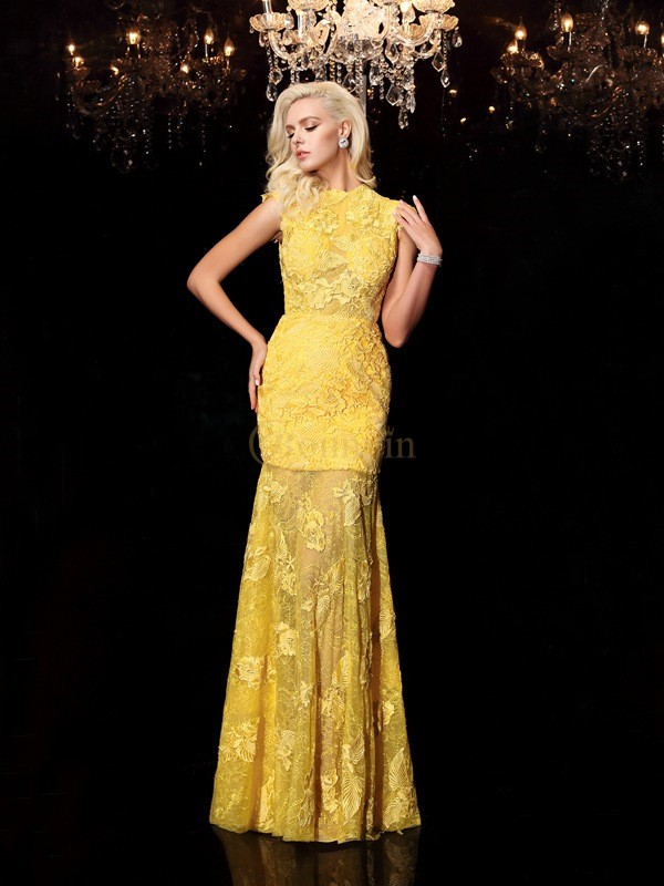 Yellow Chiffon Jewel Sheath/Column Floor-Length Evening Dresses