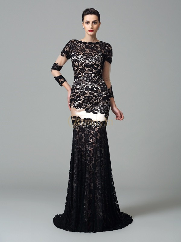 Black Elastic Woven Satin High Neck Sheath/Column Sweep/Brush Train Evening Dresses