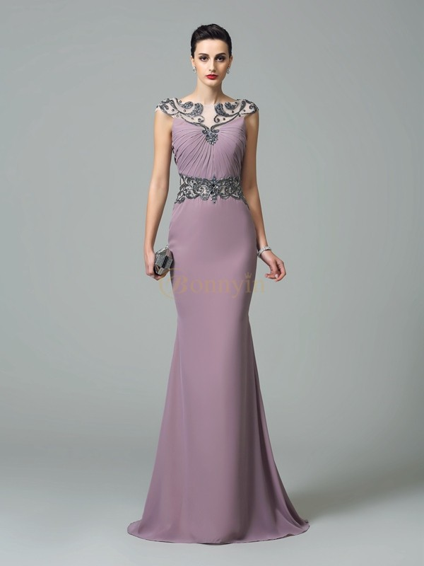Lilac Chiffon Bateau Trumpet/Mermaid Sweep/Brush Train Evening Dresses