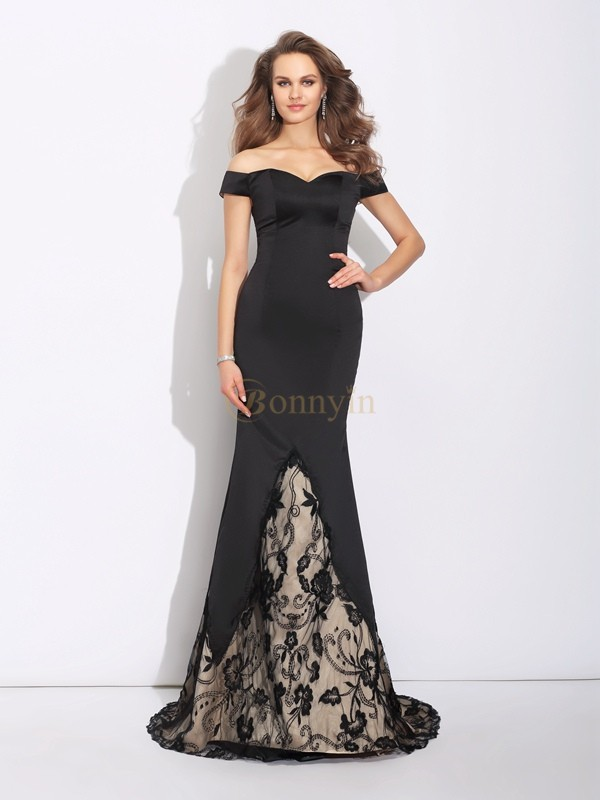 Black Satin Off the Shoulder Trumpet/Mermaid Sweep/Brush Train Evening Dresses