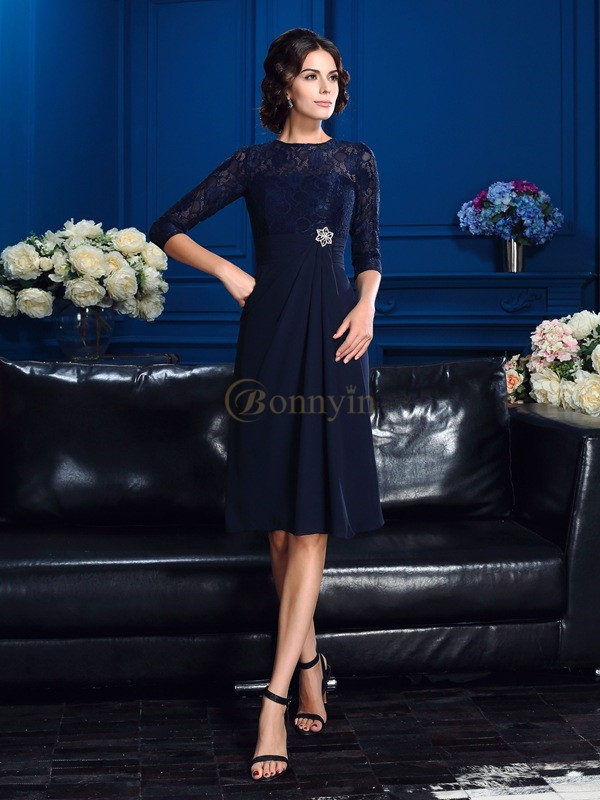 Dark Navy Chiffon Jewel A-Line/Princess Knee-Length Mother of the Bride Dresses