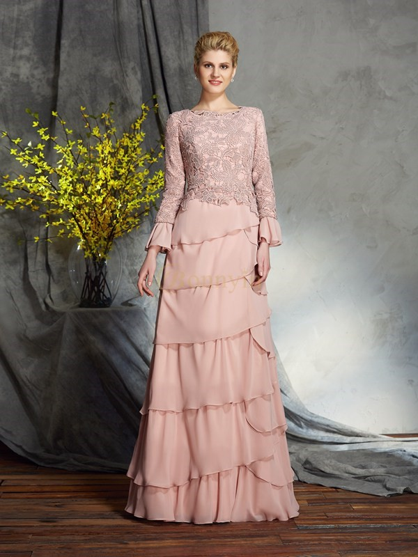Pearl Pink Chiffon Scoop Sheath/Column Floor-Length Mother of the Bride Dresses