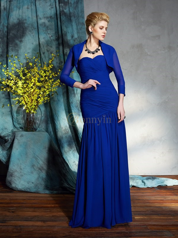 Royal Blue Chiffon Sweetheart Sheath/Column Floor-Length Mother of the Bride Dresses