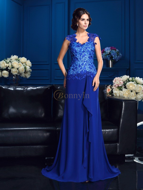 Royal Blue Chiffon V-neck A-Line/Princess Sweep/Brush Train Mother of the Bride Dresses