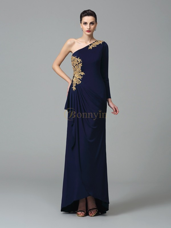 Dark Navy Spandex One-Shoulder Sheath/Column Floor-Length Prom Dresses