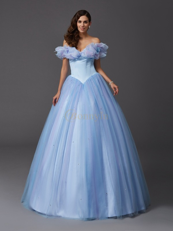 Sage Net Off-the-Shoulder Ball Gown Floor-Length Prom Dresses