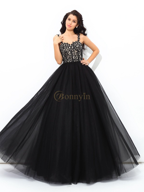 Black Net Straps Ball Gown Floor-Length Quinceanera Dresses
