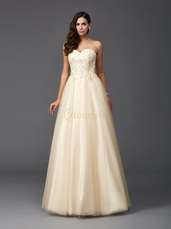 Champagne Net Sweetheart A-Line/Princess Floor-Length Prom Dresses