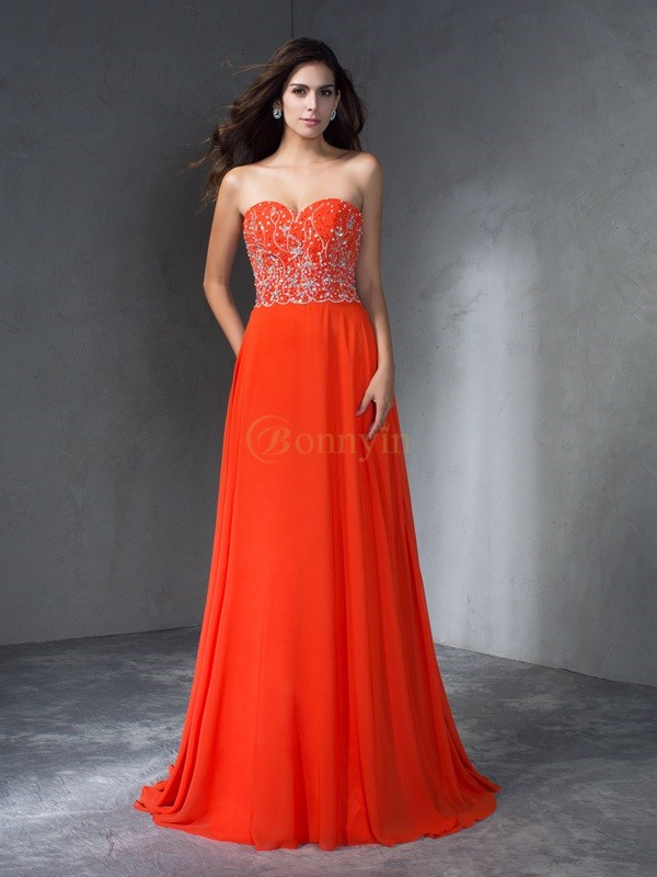 Orange Chiffon Sweetheart A-Line/Princess Sweep/Brush Train Prom Dresses