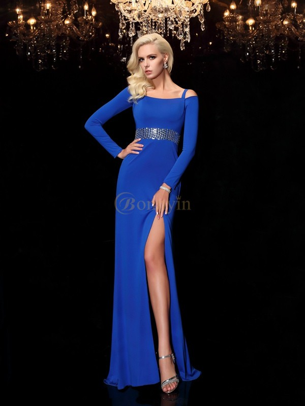 Royal Blue Spandax Bateau Sheath/Column Sweep/Brush Train Prom Dresses
