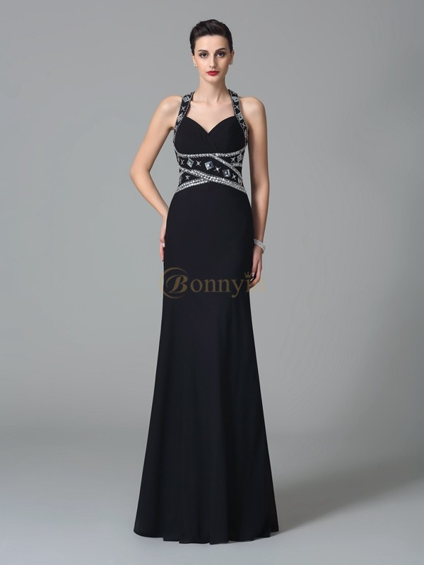 Black Chiffon Straps Sheath/Column Floor-Length Prom Dresses
