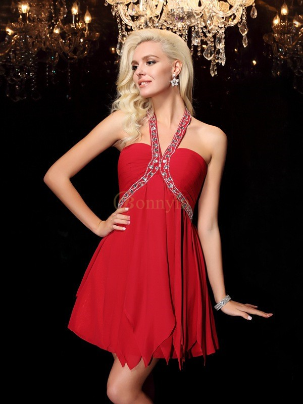 Red Chiffon Halter A-line/Princess Floor-Length Prom Dresses