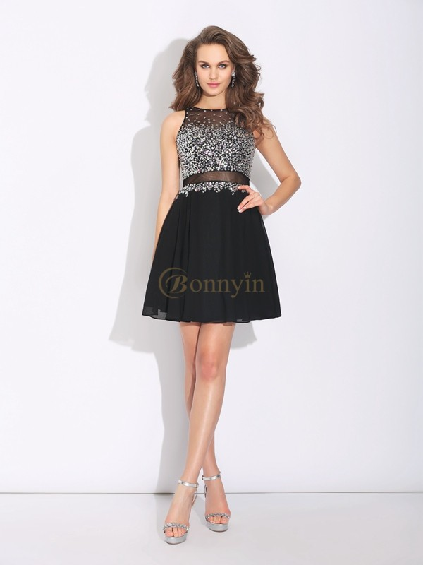 Black Chiffon Jewel A-Line/Princess Short/Mini Prom Dresses