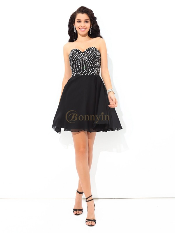 Black Chiffon Sweetheart A-Line/Princess Short/Mini Cocktail Dresses