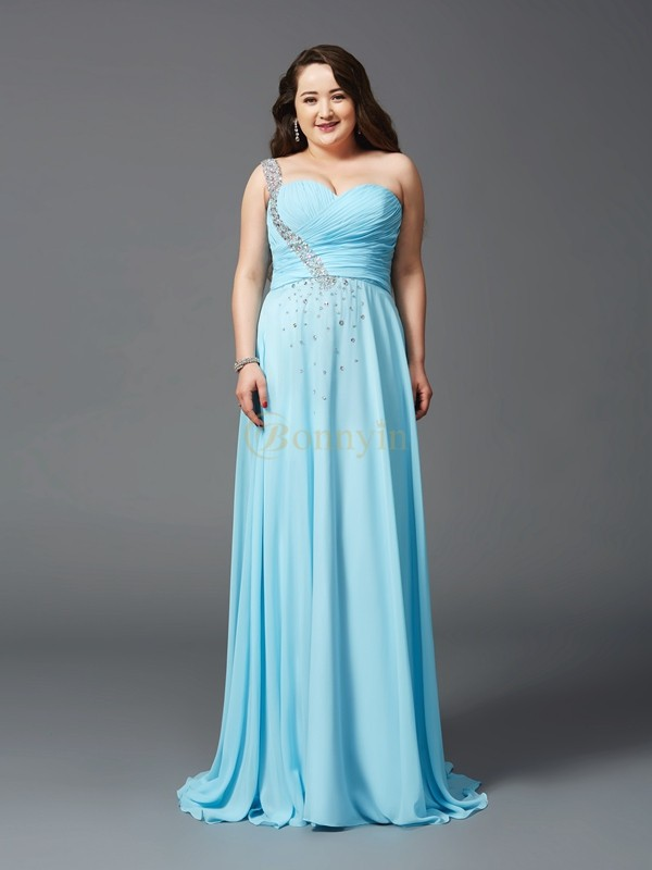 Light Sky Blue Chiffon One-Shoulder A-Line/Princess Sweep/Brush Train Prom Dresses