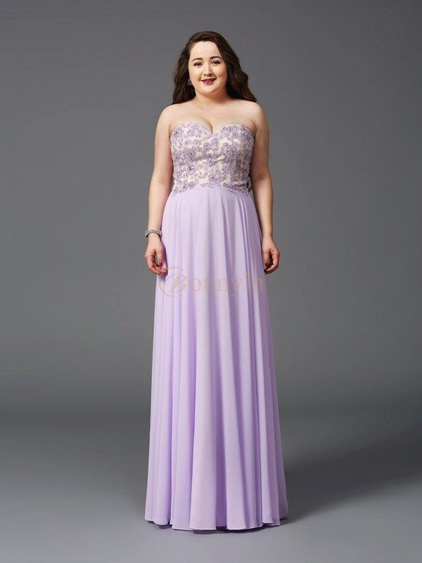 Lilac Chiffon Sweetheart A-Line/Princess Sweep/Brush Train Prom Dresses