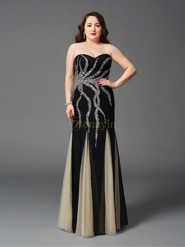 Black Chiffon Sweetheart Sheath/Column Floor-Length Prom Dresses
