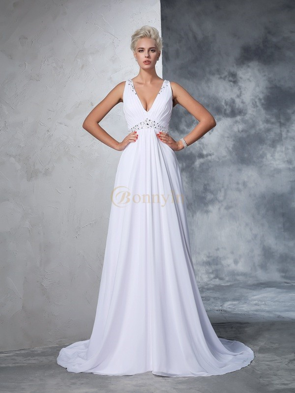 White Chiffon V-neck A-Line/Princess Cathedral Train Wedding Dresses