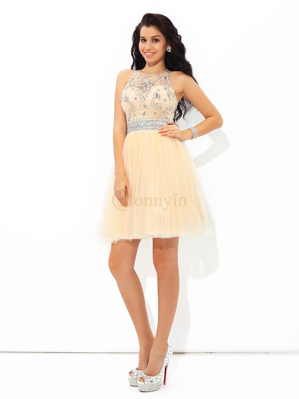 Champagne Net Sheer Neck A-Line/Princess Short/Mini Cocktail Dresses