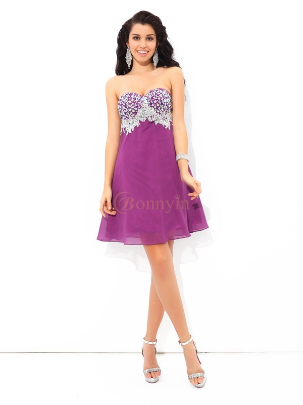 Lavender Chiffon Sweetheart A-Line/Princess Short/Mini Cocktail Dresses