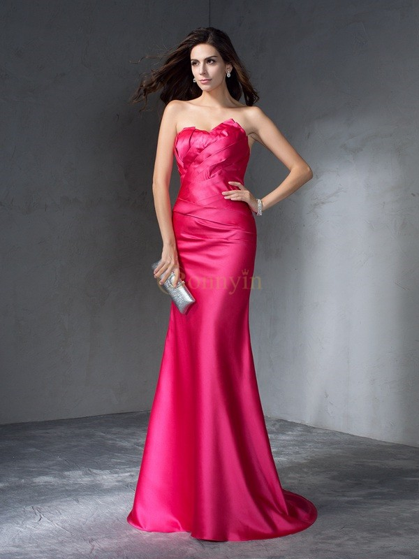 Fuchsia Satin Sweetheart Trumpet/Mermaid Sweep/Brush Train Evening Dresses