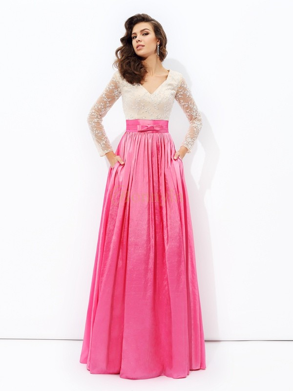 Fuchsia Taffeta V-neck A-line/Princess Floor-Length Evening Dresses