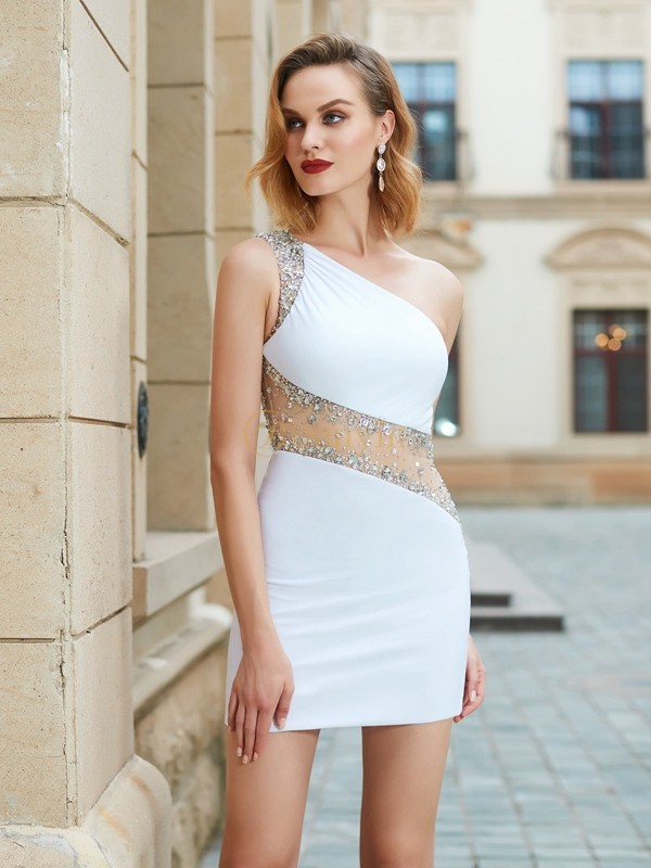 White Net One-Shoulder Sheath/Column Short/Mini Graduation Dresses