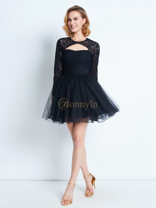 Black Net High Neck A-Line/Princess Short/Mini Graduation Dresses