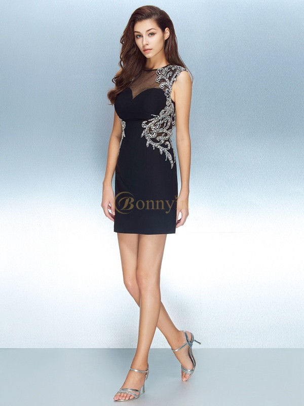 Dark Navy Net Jewel Sheath/Column Short/Mini Graduation Dresses