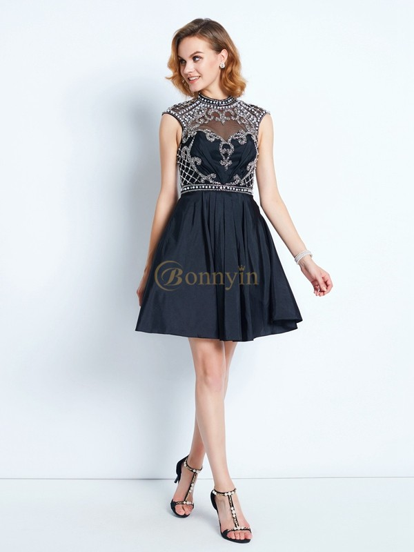 Black Satin High Neck A-Line/Princess Short/Mini Graduation Dresses