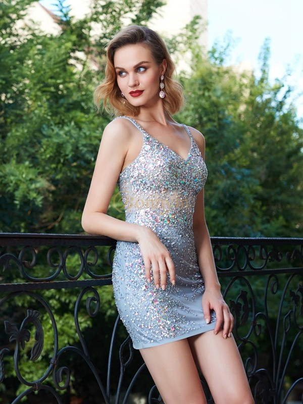 Silver Net Spaghetti Straps Sheath/Column Short/Mini Graduation Dresses