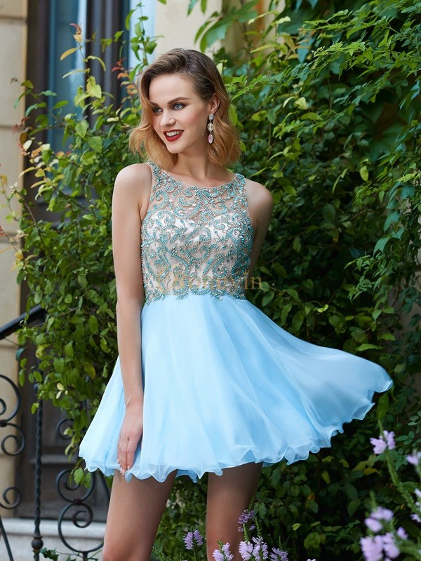 Light Sky Blue Chiffon Scoop A-Line/Princess Short/Mini Graduation Dresses