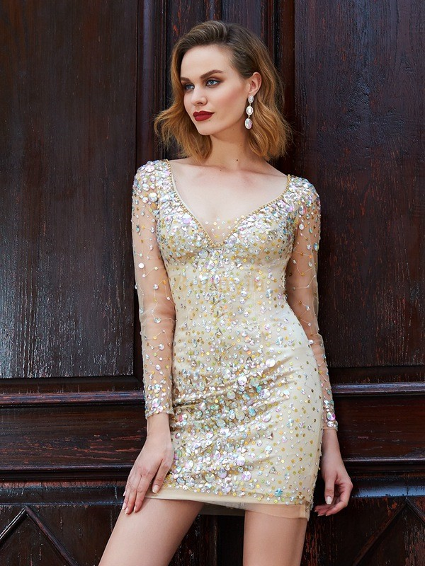 Gold Net Scoop Sheath/Column Short/Mini Graduation Dresses